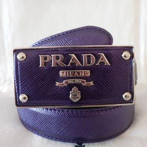 $440~PRADA~Saffiano Leather Logo Buckle Belt~32/80